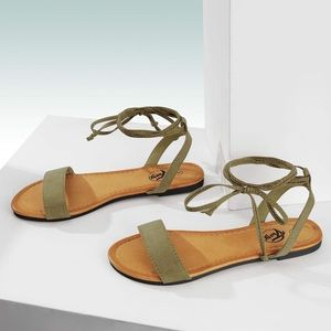 Lace Up Ankle Strap Summer Open Toe Flat Sandals
